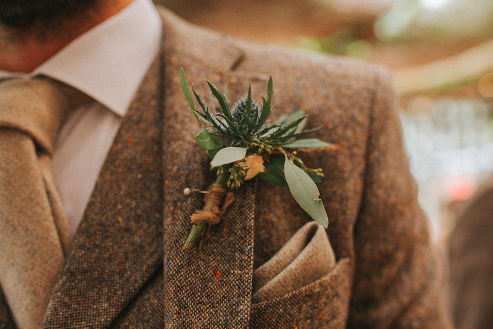 Buttonhole Flowers Groom Thistle Crab Lobster Wedding A Little Picture