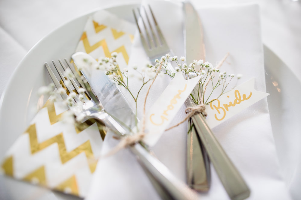 Place Name Setting Gold Lettering Fun Laughter Relaxed Wedding Chris Barber Photography