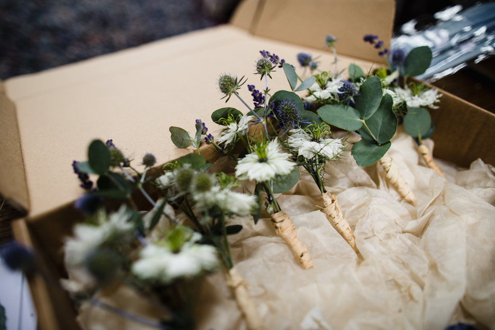 Buttonholes Twine Thistle Lavender Fun Laughter Relaxed Wedding Chris Barber Photography