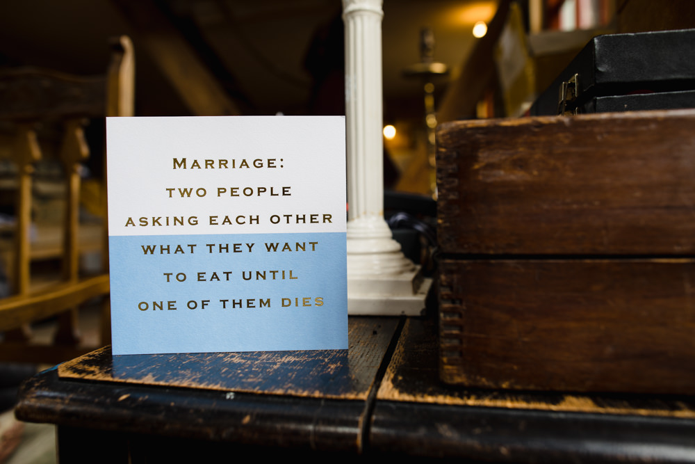 Marriage Quote Card Sign Fun Laughter Relaxed Wedding Chris Barber Photography