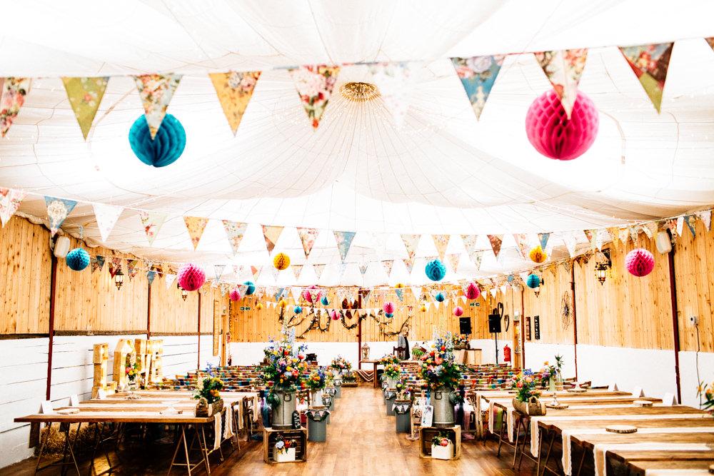 Paper Lantern Bunting Milk Churns Multicolour Rustic Wooden Fun Quirky Colourful Wedding Fairclough Studios