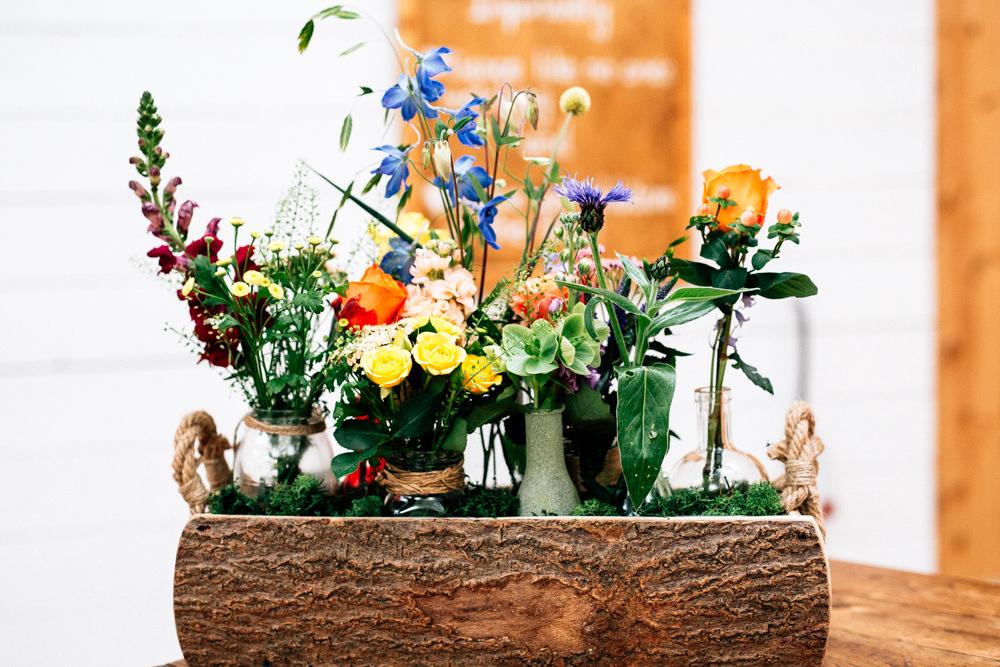 Log Flower Arrangement Wildflower Floral Meadow Vase Jar Fun Quirky Colourful Wedding Fairclough Studios