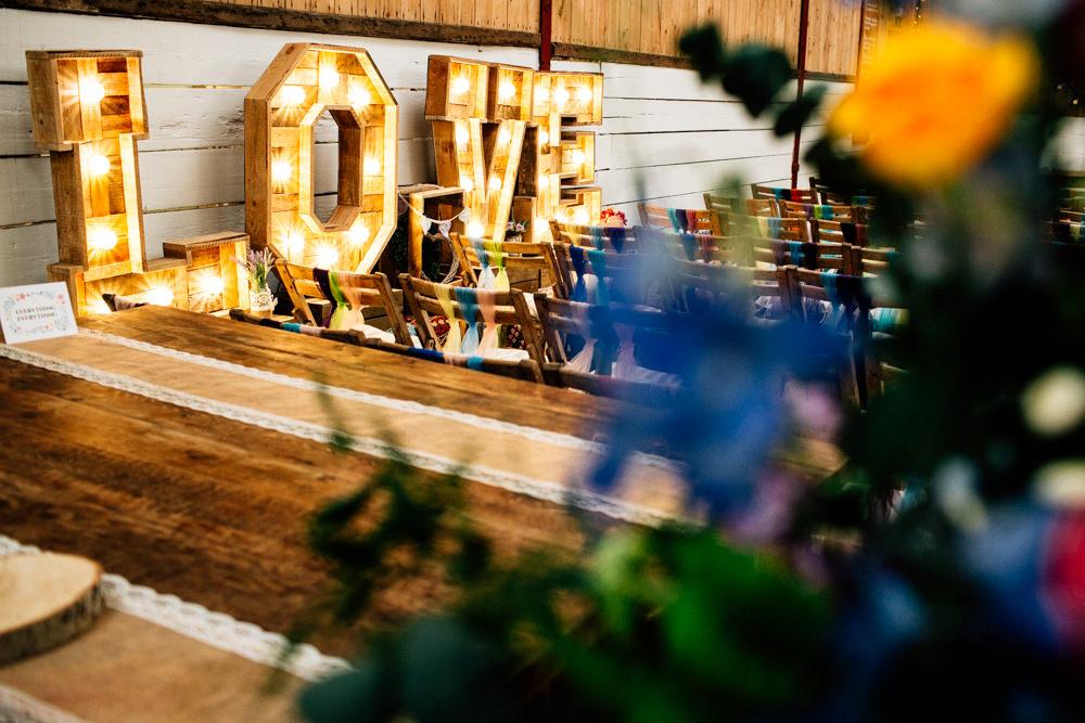 Love Light Up Sign Wooden Cirucs Fun Quirky Colourful Wedding Fairclough Studios