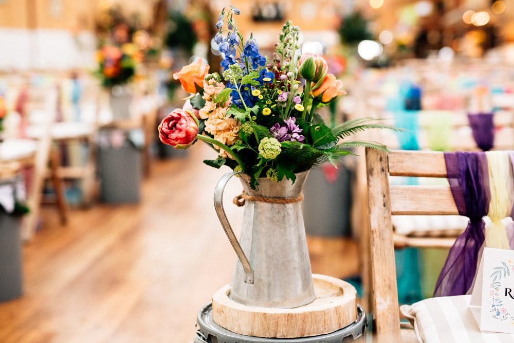 Metal Vase Floral Arrangement Flowers Aisle End Fun Quirky Colourful Wedding Fairclough Studios