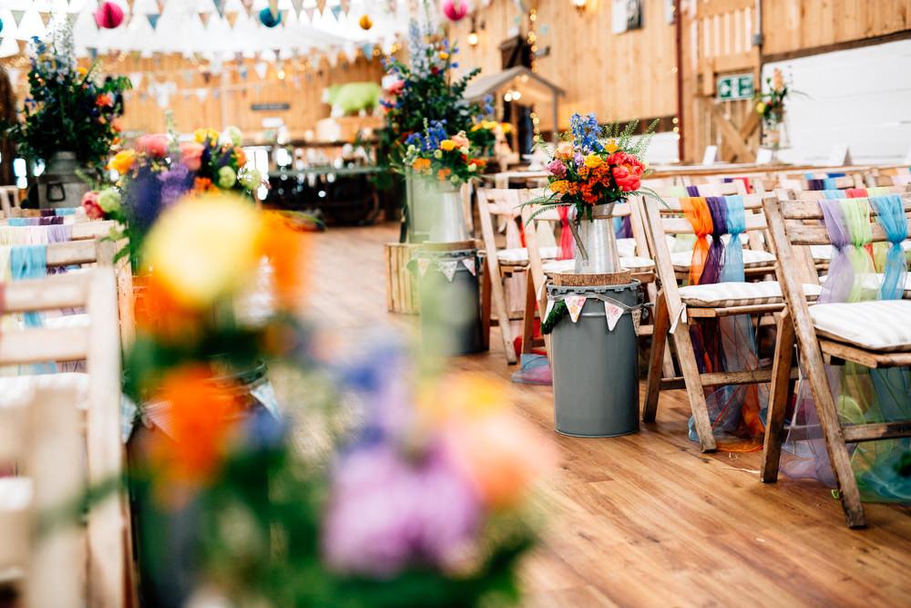 Ceremony Aisle Chiffon Ribbon Chair Back Bunting Paper Lanterns Fun Quirky Colourful Wedding Fairclough Studios