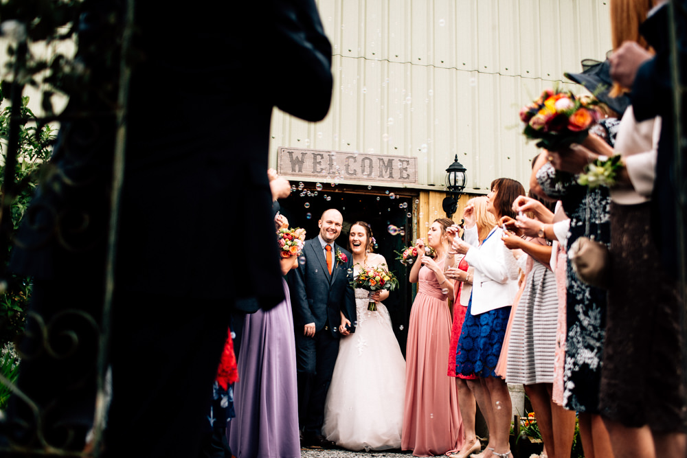 Bride Bridal Lace Tulle Full Skirt Sweetheart Illusion Navy Suit Orange Tie Groom Bubbles Fun Quirky Colourful Wedding Fairclough Studios