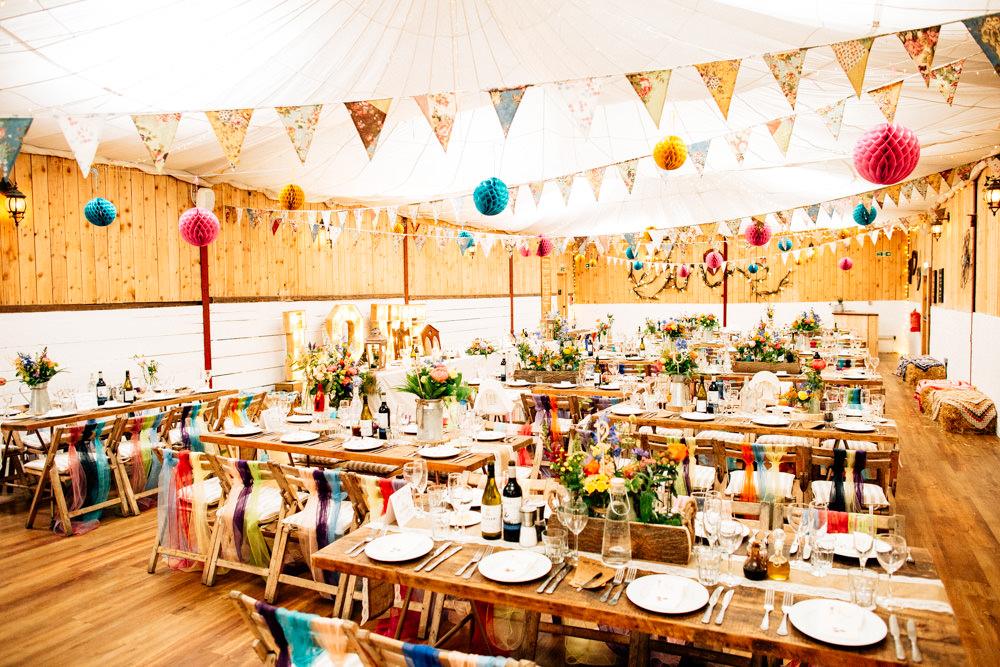 Multicolour Bunting Paper Lantern Chiffon Tie Chair Back Flowers Floral Fun Quirky Colourful Wedding Fairclough Studios