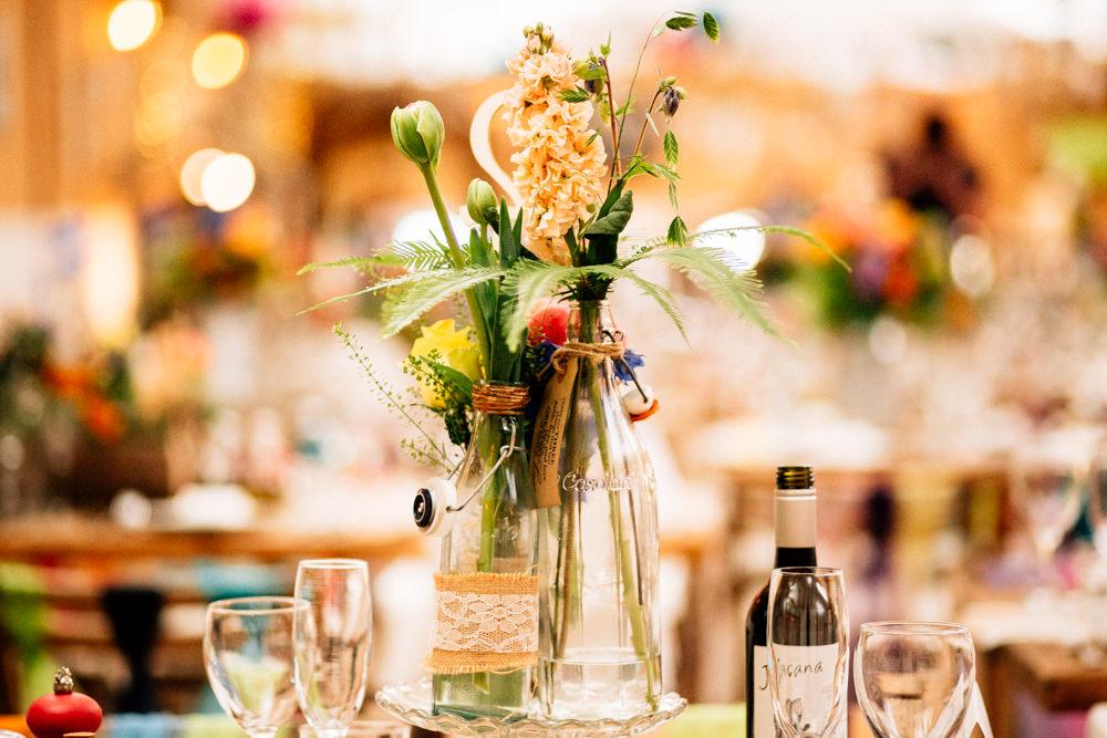Bottle Flower Arrangements Floral Hessian Lace Fun Quirky Colourful Wedding Fairclough Studios