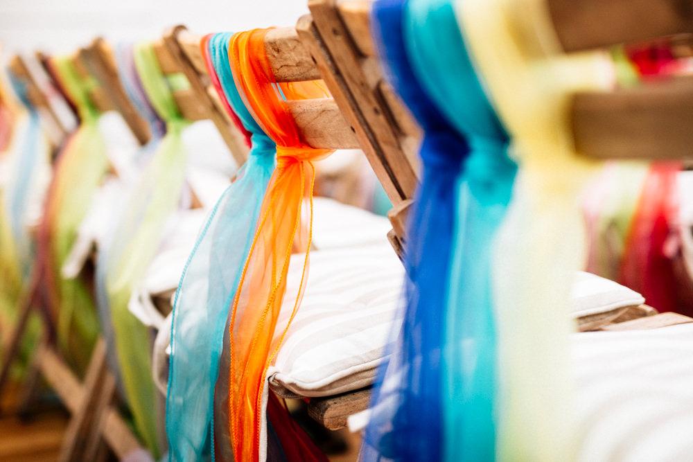 Chair Back Chiffon Ribbon Fun Quirky Colourful Wedding Fairclough Studios