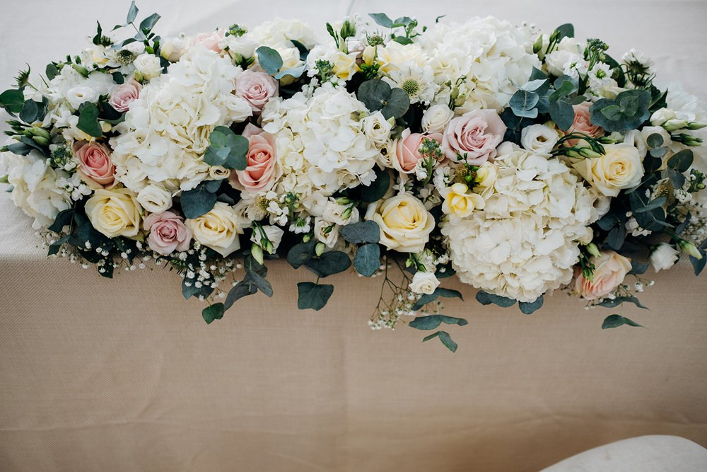 Ceremony Register Table Floral Flower Garland Hydrangea Rose White Pink Foliage Greenery Kew Gardens Wedding Marianne Chua Photography