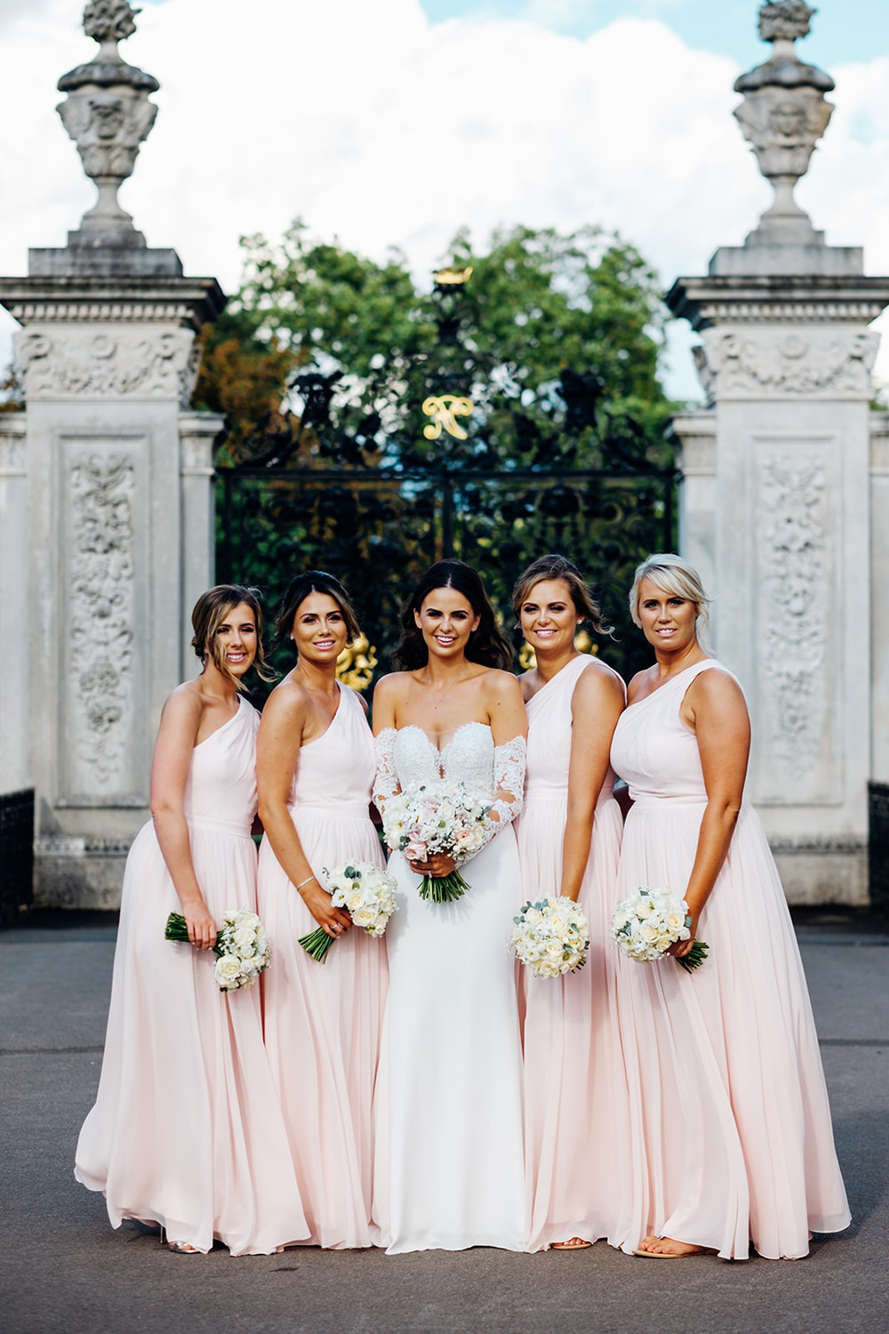 Bride Bridal Pronovias Sweetheart Neckline Detached Sleeves Fishtail Pink Blush One Shoulder Bridesmaids Dress ew Gardens Wedding Marianne Chua Photography