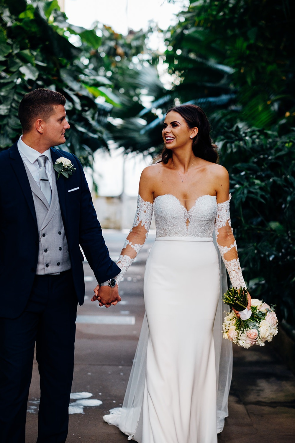 Bride Bridal Pronovias Sweetheart Neckline Detached Sleeves Fishtail Three Piece Suit Groom Waistcoat Double Breasted Kew Gardens Wedding Marianne Chua Photography