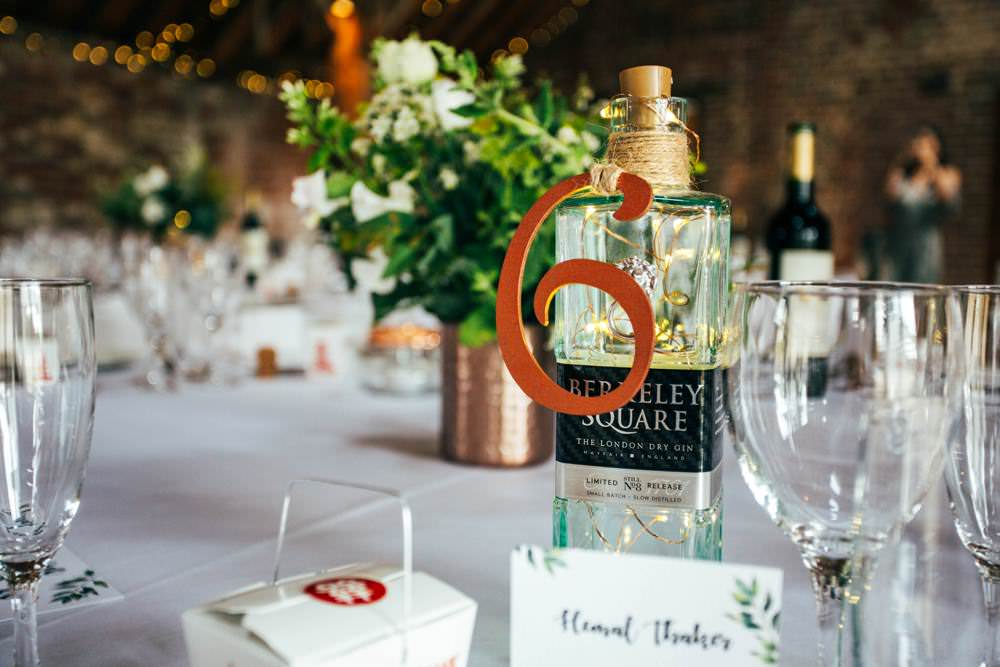 Metal Table Numbers Gin Bottle Decor Table Long Barn Wedding Three Flowers Photography
