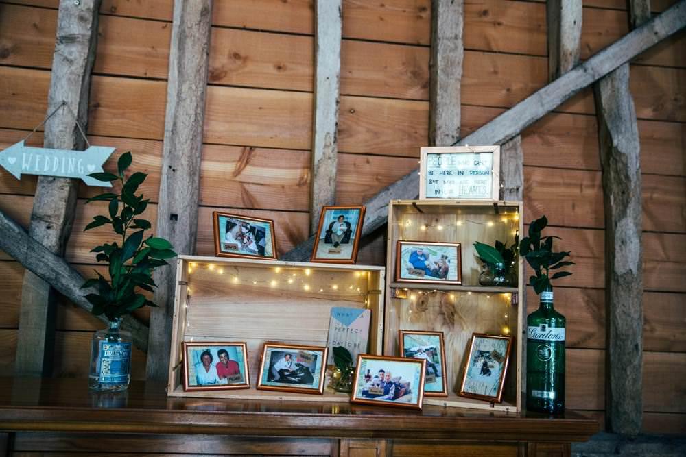 Wooden Crate Fairy Lights Decor Long Barn Wedding Three Flowers Photography