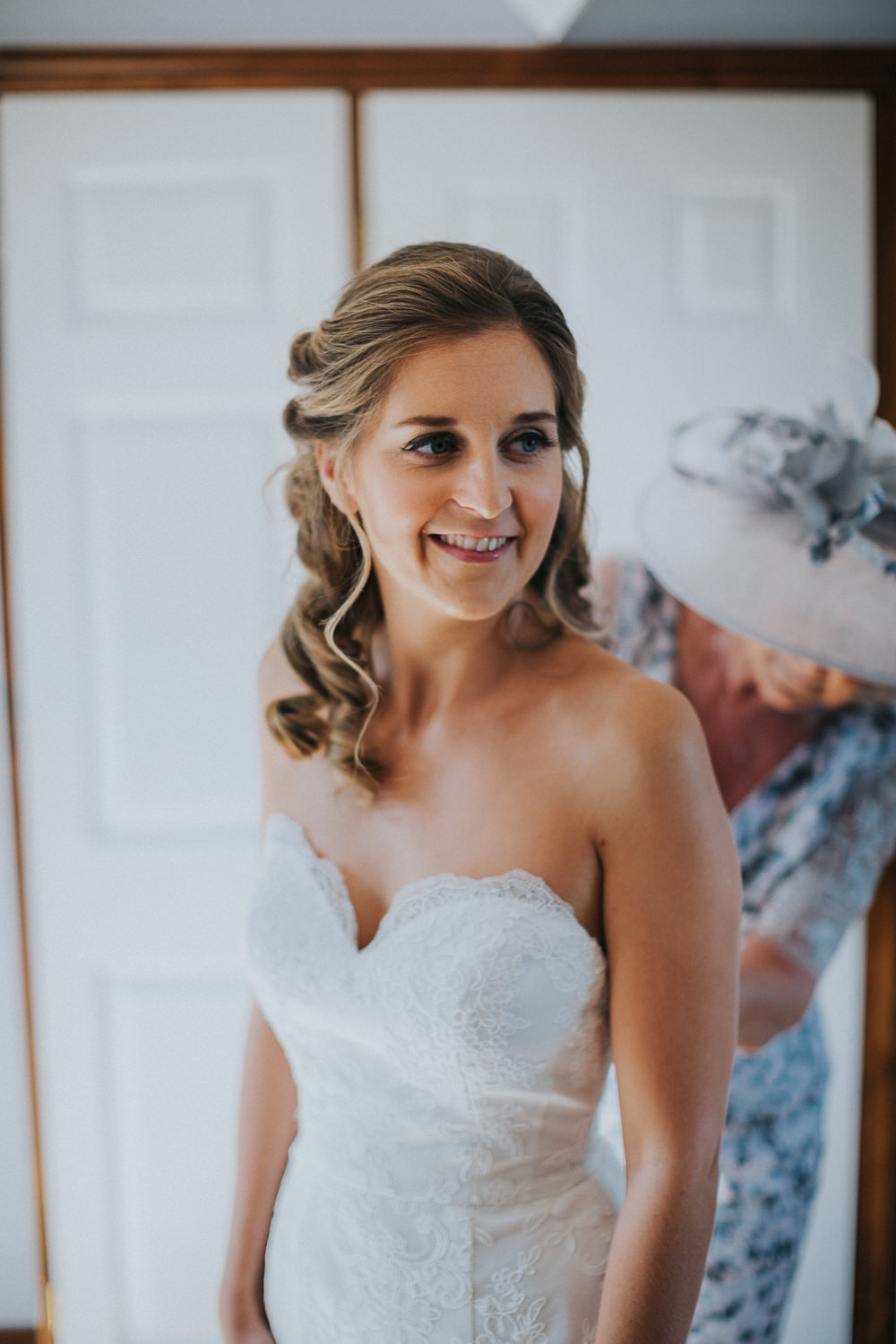 Bride Bridal Half Up Curled Hair Loseley Park Wedding Kit Myers Photography