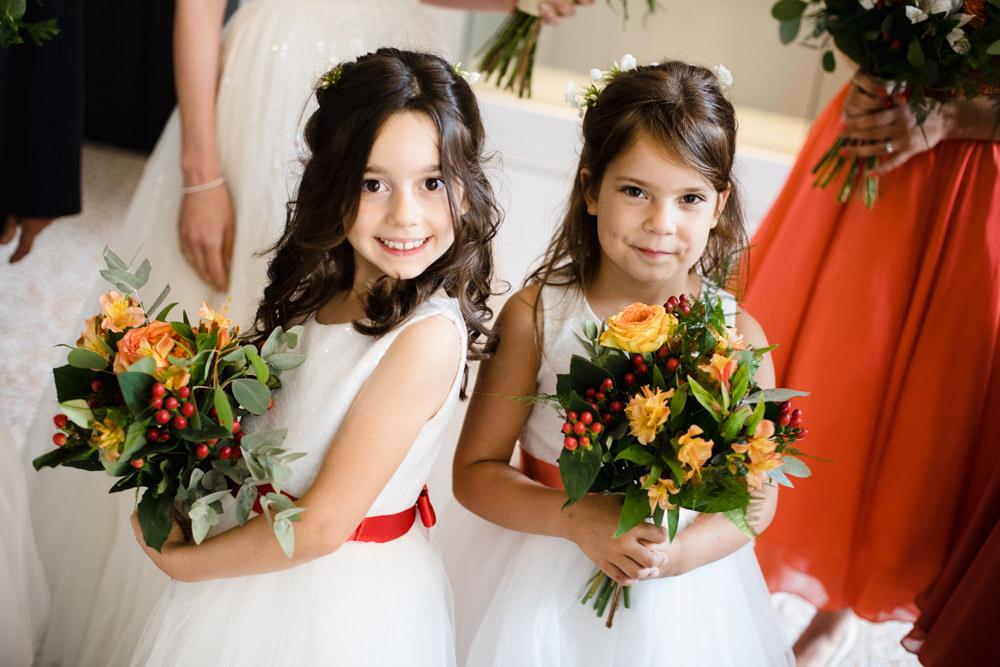 Flower Girls Orange Red Sash Bouquet Berry Rose Manchester Museum Wedding Chris Barber Photography