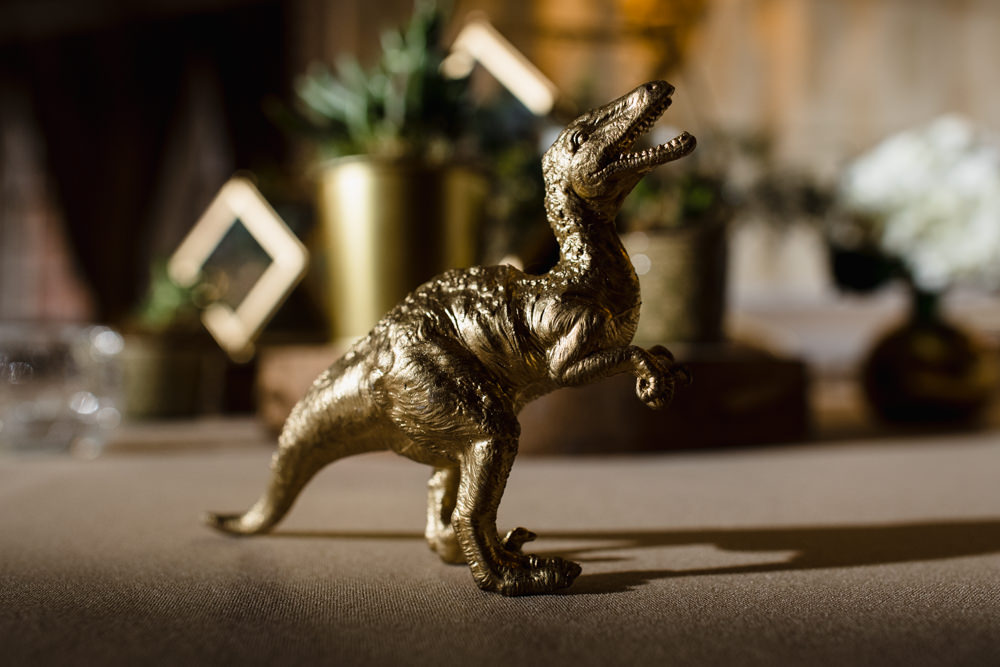 Gold Dinosaur Decor Manchester Museum Wedding Chris Barber Photography