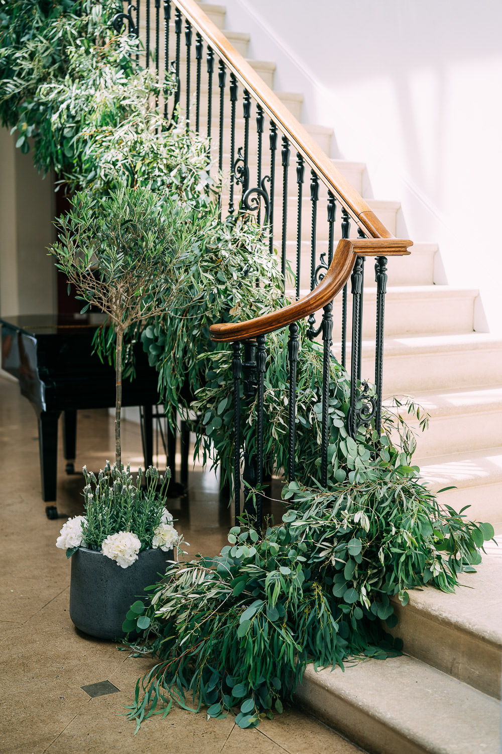 Staircase Flowers Greenery Foliage Old Down Estate Wedding Albert Palmer Photography