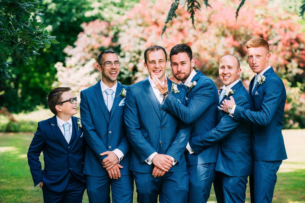 Groom Groomsmen Suits Navy Blue Ties Old Down Estate Wedding Albert Palmer Photography