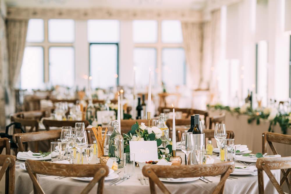 Gold Brass Candle Sticks Tables Greenery Foliage Runner Garland Old Down Estate Wedding Albert Palmer Photography