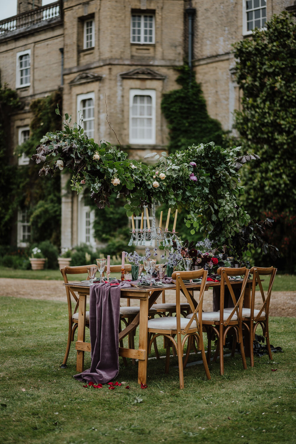 Tablescape Table Decor Outdoor Cloud Suspended Flower Hanging Installation Runner Pylewell Park Wedding New Forest Studio