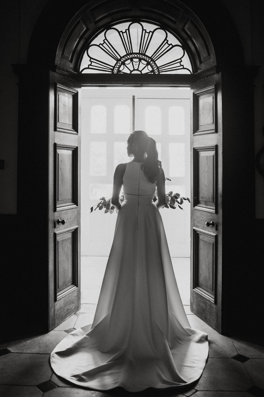Bride Bridal Dress Gown High Neck Straps Train Pylewell Park Wedding New Forest Studio