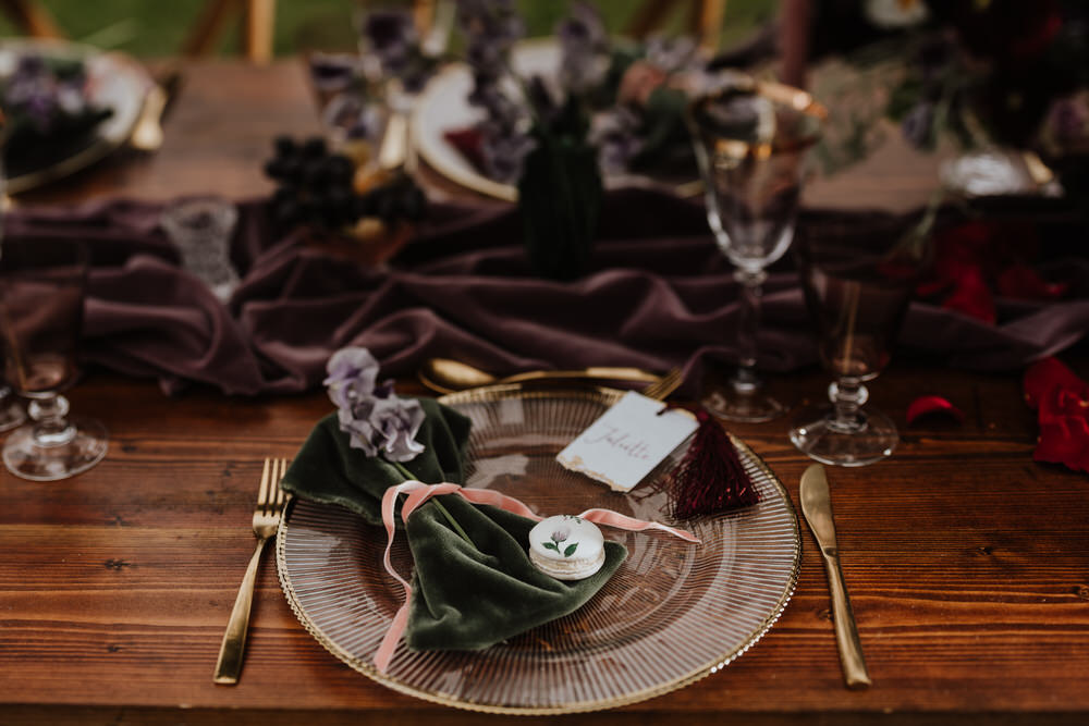 Purple Violet Lilac Tablescape Table Decor Silk Cloth Flowers Place Setting Pylewell Park Wedding New Forest Studio