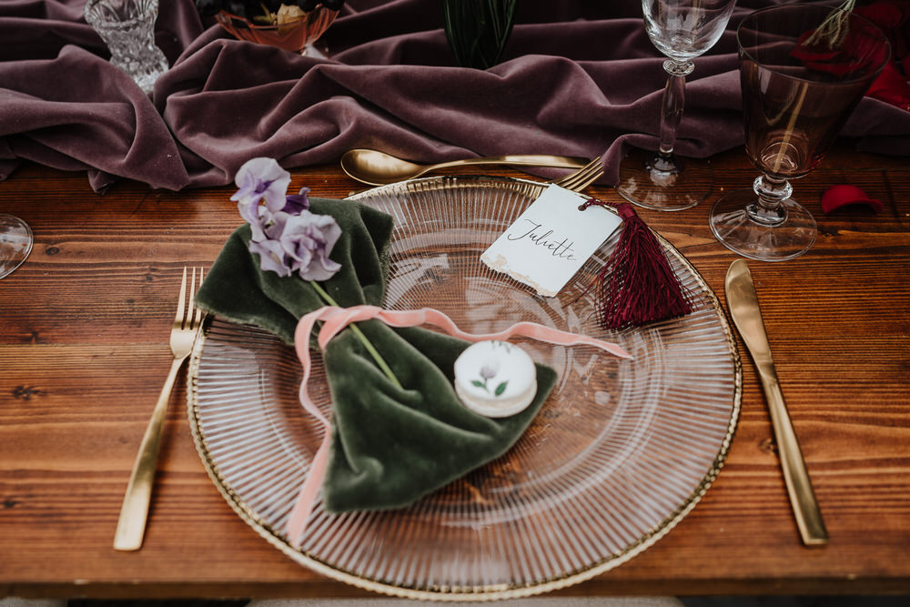 Place Setting Plate Velvet Favour Bag Place Name Calligraphy Macaron Pylewell Park Wedding New Forest Studio