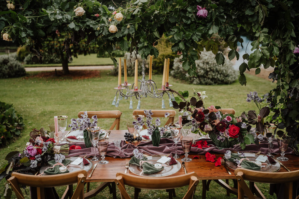 Purple Violet Lilac Tablescape Table Decor Silk Cloth Flowers Pylewell Park Wedding New Forest Studio