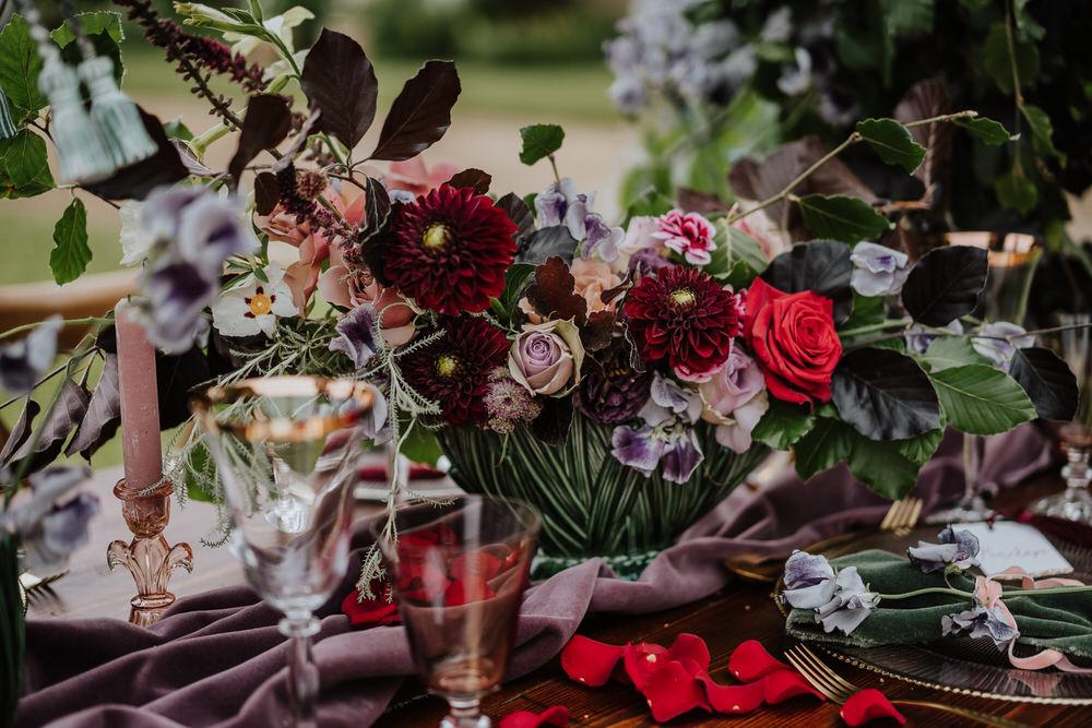 Dahlia Rose Purple Violet Lilac Tablescape Table Decor Silk Cloth Flowers Pylewell Park Wedding New Forest Studio