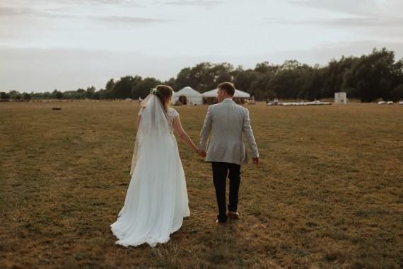 Bride Bridal Dress Gown Veil Train Stella York Lace Chiffon Sleeves Cap Riverside Weddings Oxfordshire Yurt Luis Calow Photographer