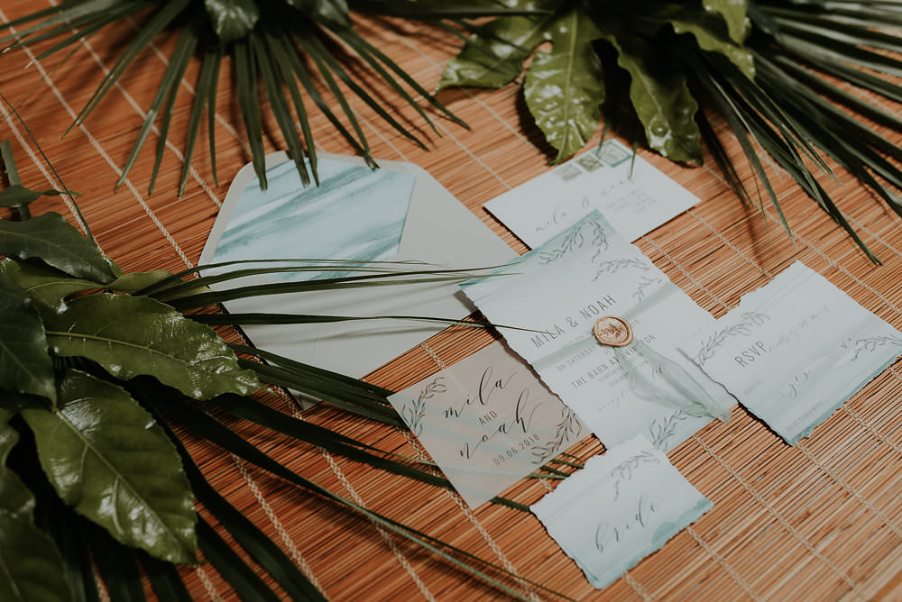 Watercolour Stationery Sage Green Pale Blue Invite Invitations Scandinavian Mid Century Minimal Wedding Ideas Rachel Lou Photography