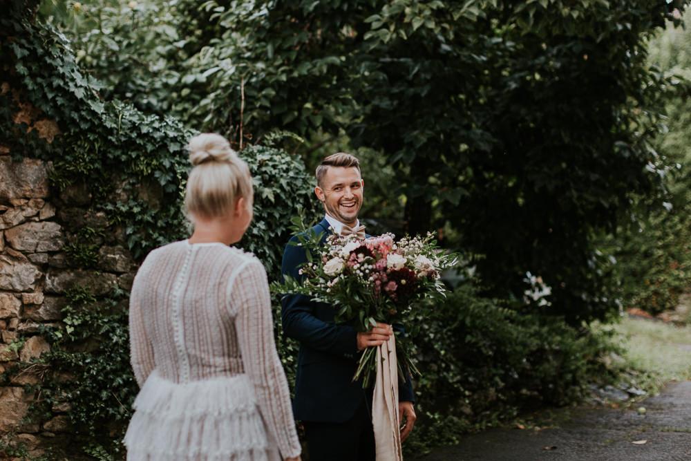First Look Bride Groom Slovenia Wedding Bohemian Maja Tsolo Photography