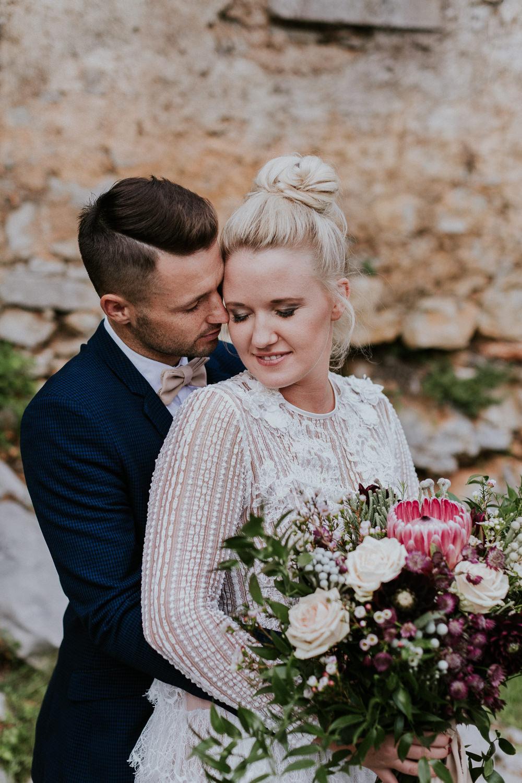Bride Bridal Hair High Bun Style Slovenia Wedding Bohemian Maja Tsolo Photography