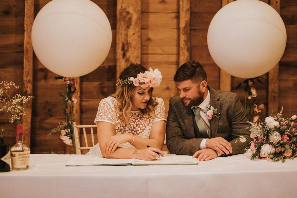 Bride Bridal Flower Crown Lace Sweetheart Neckline Tweed Waistcoat Groom Register Signing Giant Balloon Tewin Bury Farm Wedding Brook Rose Photography
