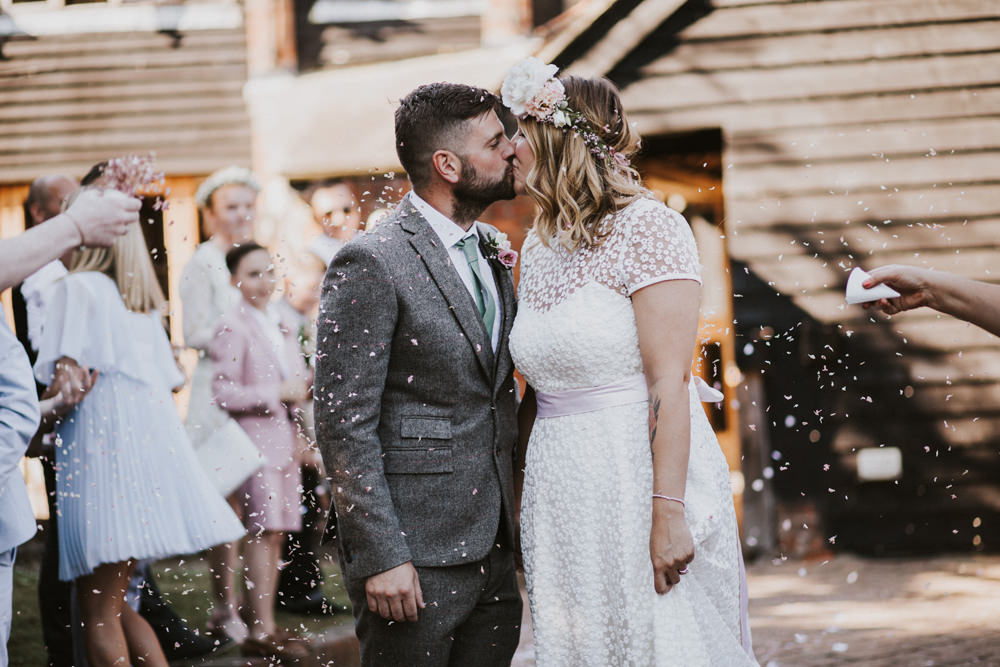 Bride Bridal Flower Crown Lace Sweetheart Neckline Tweed Waistcoat Groom Pink Sash Tewin Bury Farm Wedding Brook Rose Photography