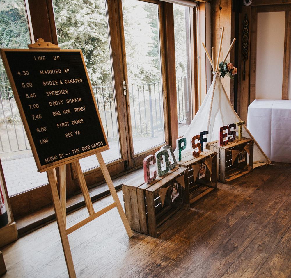 Line Up Peg Board Letter Crates Festival Tipi Wigwam Tewin Bury Farm Wedding Brook Rose Photography