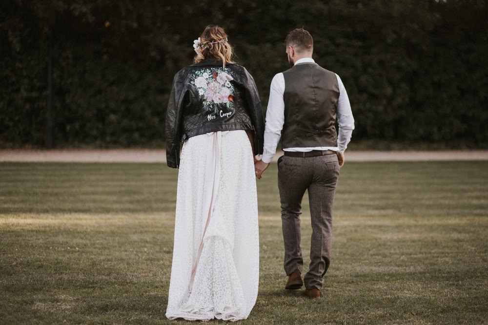 Bride Bridal Flower Crown Lace Sweetheart Neckline Waistcoat Groom Leather Jacket Tewin Bury Farm Wedding Brook Rose Photography