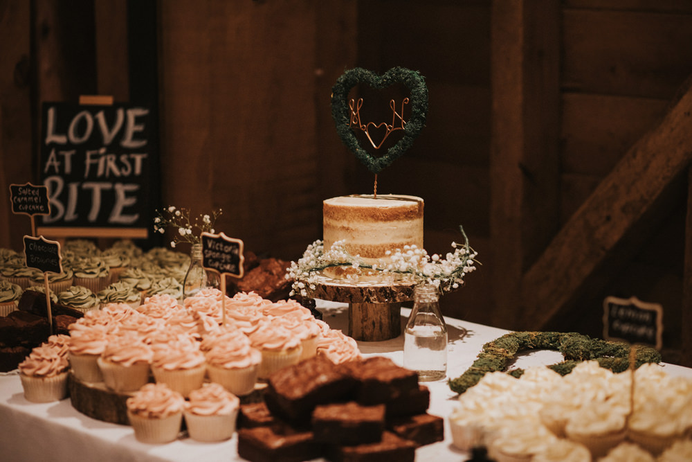 Cake Table Semi Naked Cake Copper Wire Topper Tewin Bury Farm Wedding Brook Rose Photography