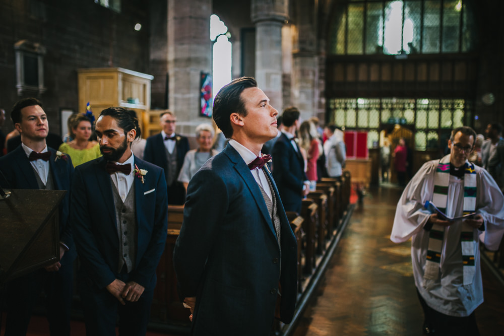 Groom Suit Blue Grey Waistcoat Red Bow Tie Tipi Garden Wedding Amy Jordison Photography