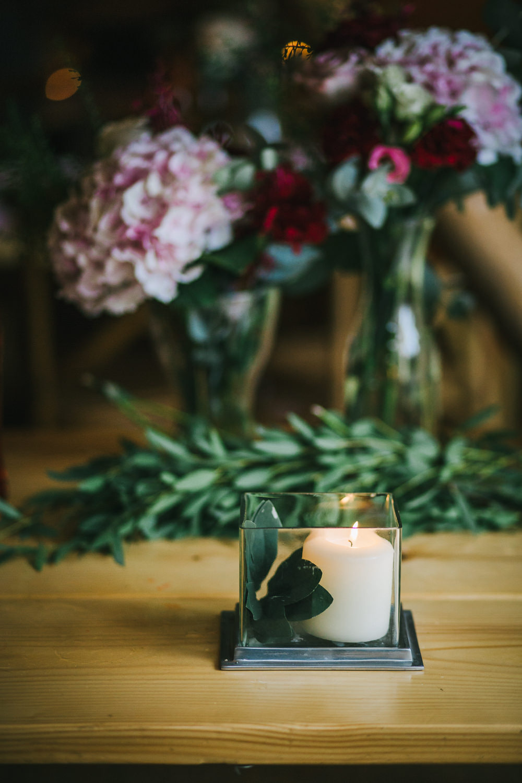 Candle Decor Table Flowers Tipi Garden Wedding Amy Jordison Photography