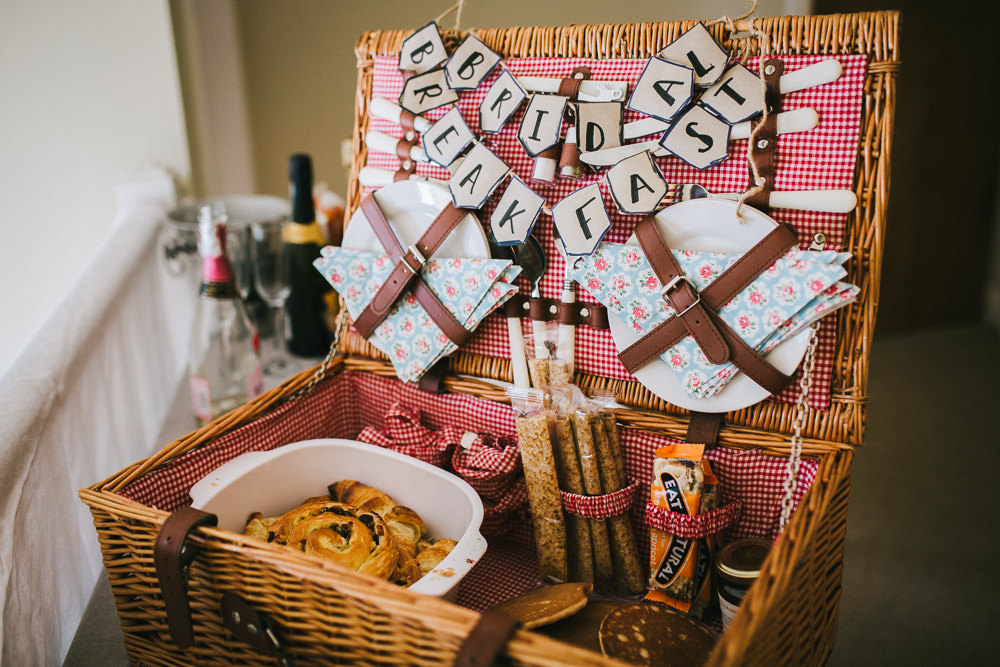 Picnic Hamper Breakfast Bride Bridal Tipi Garden Wedding Amy Jordison Photography