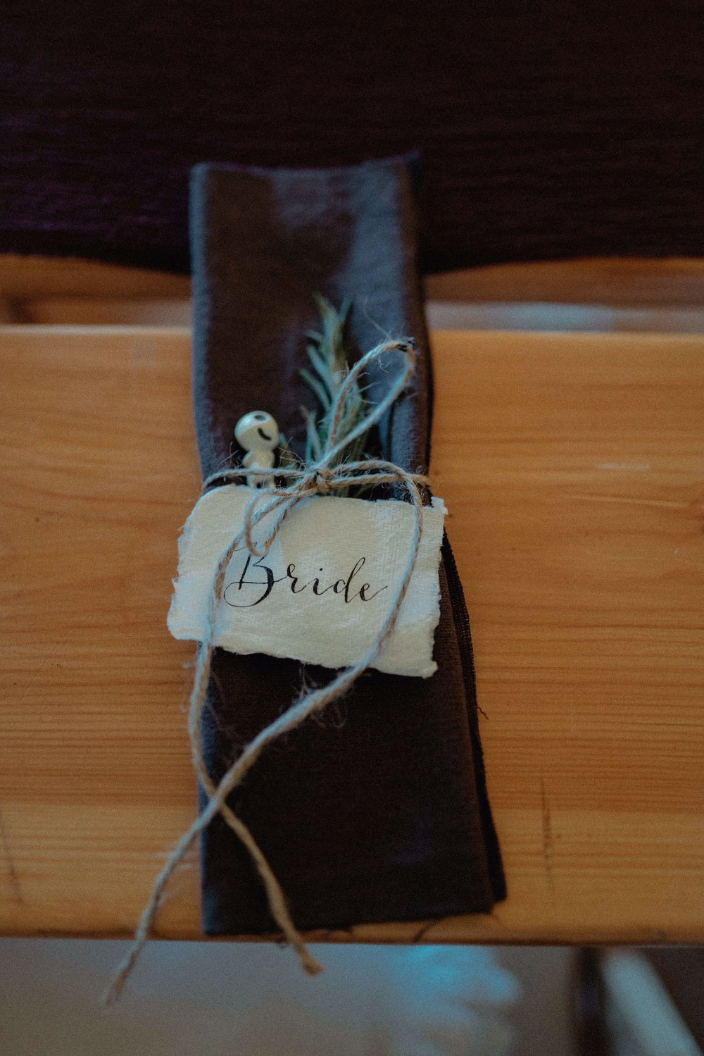 Calligraphy Place Name Napkin Rosemary Autumn Dark Red Wedding Belle Art Photography