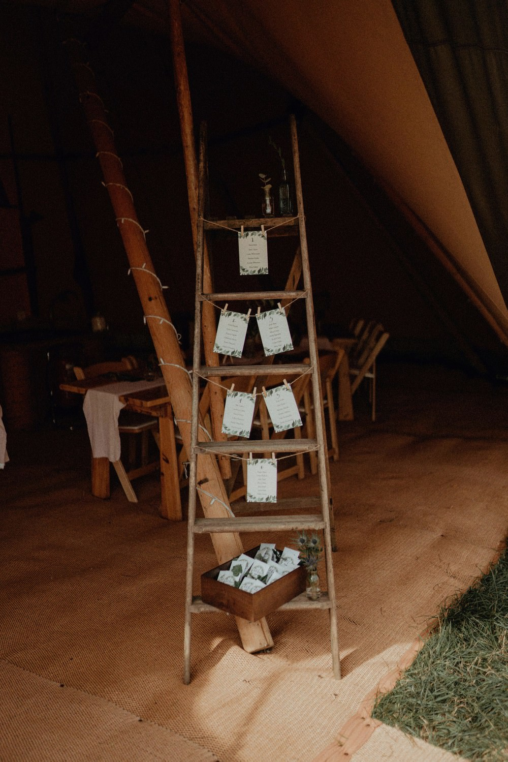 Wooden Ladder Seating Plan Table Chart Pegs Autumn Dark Red Wedding Belle Art Photography