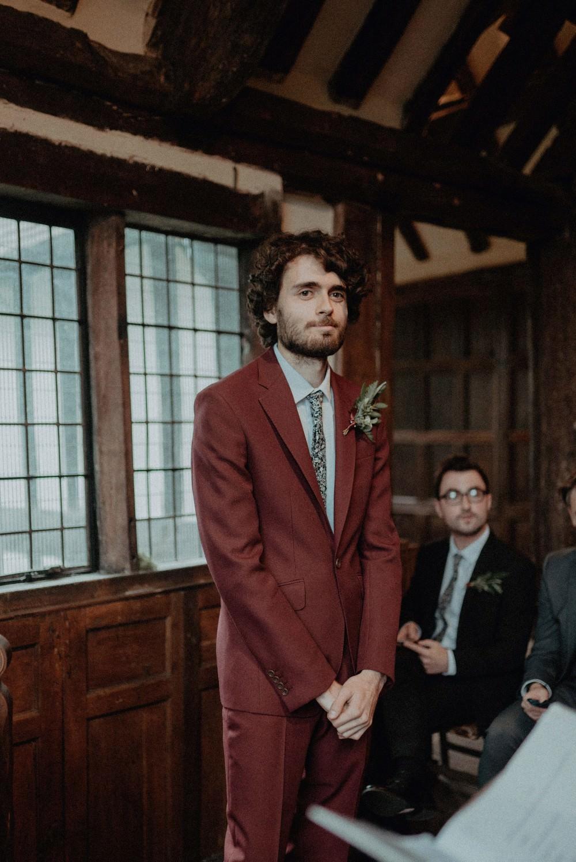 Groom Burgundy Suit Floral Tie Autumn Dark Red Wedding Belle Art Photography