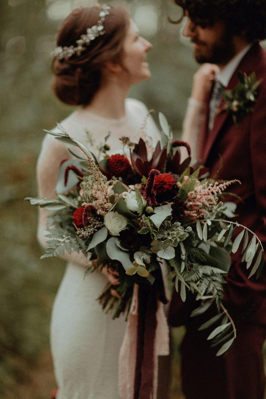 Bouquet Flowers Bride Bridal Burgundy Greenery Foliage Dahlia Astilbe Fern Ribbons Autumn Dark Red Wedding Belle Art Photography