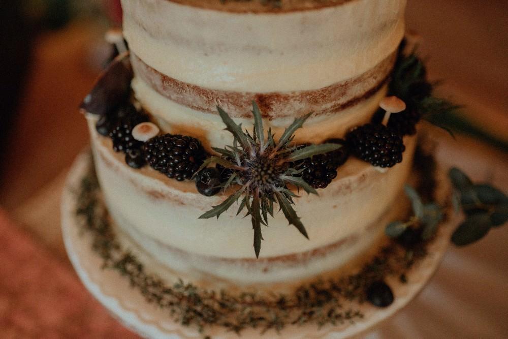 Semi Naked Cake Fruit Autumn Dark Red Wedding Belle Art Photography