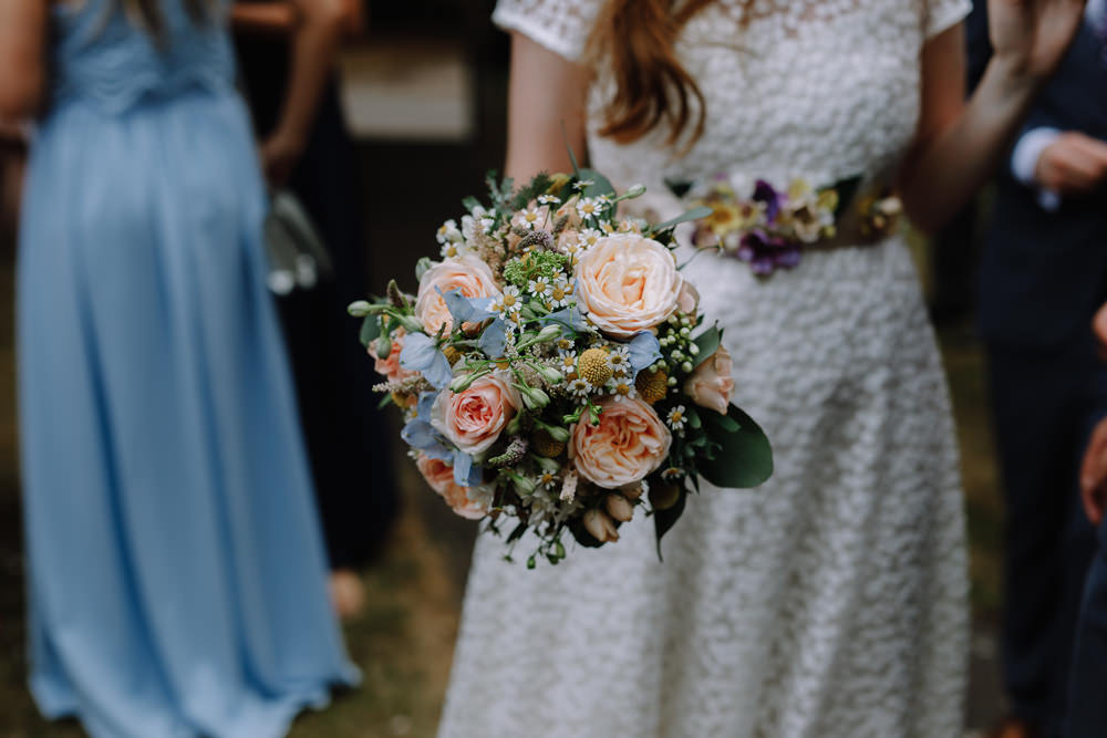 Bouquet Flowers Bride Bridal Pink Blue Rose Daisy Boho Festival Wedding Matt Bowen Photography