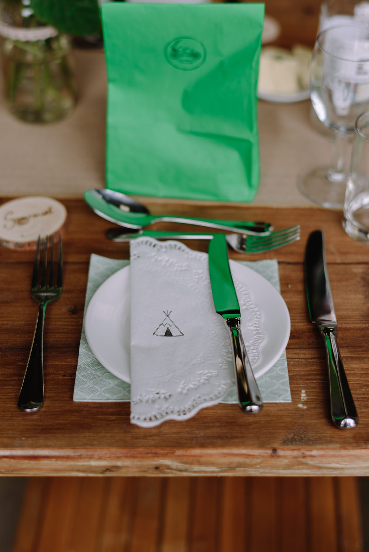 Place Setting Doily Tipi Green Goodie Bag Boho Festival Wedding Matt Bowen Photography