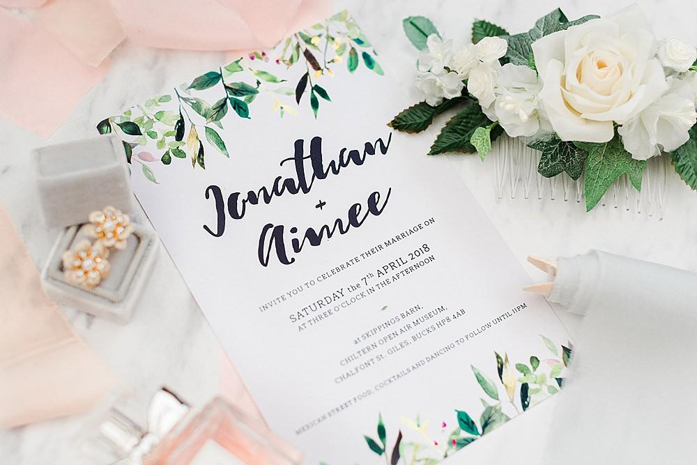 Botanical Stationery Invite Invitation Chiltern Open Air Museum Wedding Terri & Lori Fine Art Photography